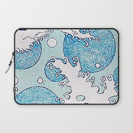 Waves And Circles - Cute Japanese Pattern Laptop Sleeve