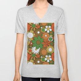 Funky Daisy Floral in Harvest Unisex V-Neck