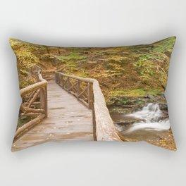 Autumn Boardwalk Bridge Rectangular Pillow