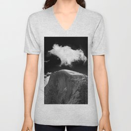 Half Dome Looms on a Cold Spring Day and a Cloud Grows on the Updraft Unisex V-Neck