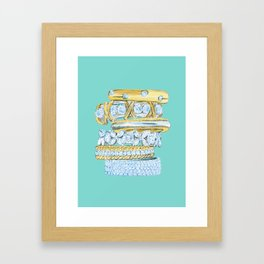 Golden Rings on Blue Framed Art Print