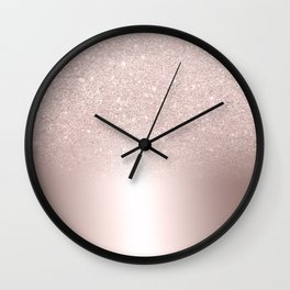 Rose gold glitter ombre metallic gradient Wall Clock