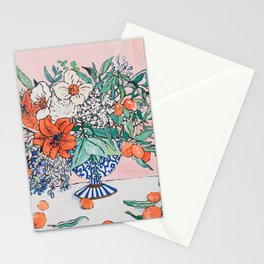 California Summer Bouquet - Oranges and Lily Blossoms in Blue and White Urn Stationery Cards