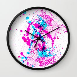 Energetic Expressive Hot Pink Paint Splatter Wall Clock