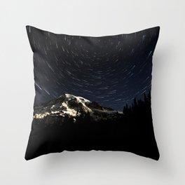 Mount Rainier Star Trails  Throw Pillow