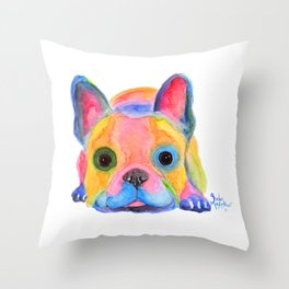Nosey Dog French Bulldog ' AM I FRENCH ? ' by Shirley MacArthur Throw Pillow
