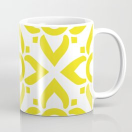 illustration decorative yellow and white seamless vector pattern floral motifs Coffee Mug