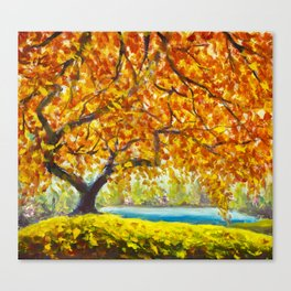 Big autumn tree near the river. Autumn landscape. Canvas Print