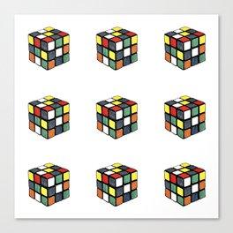 Hand Coloured Rubik's Cube Drawing Canvas Print