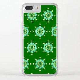 Eight point Mandala, Dark Jade Green and Aqua Clear iPhone Case