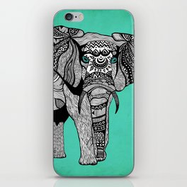 Tribal Elephant Black and White Version iPhone Skin