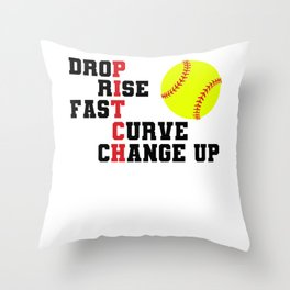 Softball Pitch for Pitcher Throw Pillow