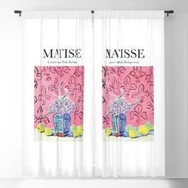 Matisse - Lemons against Pink Background Blackout Curtain