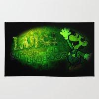 luigi Area & Throw Rugs featuring Luigi - Support the Underdog by Donkey Inferno