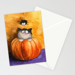 A pumpkin, a cat and a spider Stationery Cards