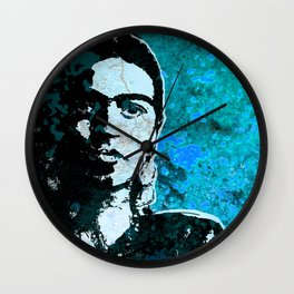 FRIDA - turquoise grunge Wall Clock
