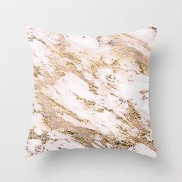 Golden smudge - blush marble Throw Pillow
