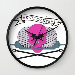 Knit or Dye - Pink Wall Clock