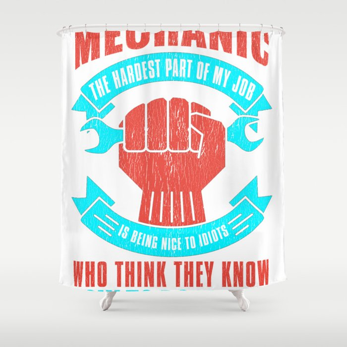 Mechanics and Idiots Shower Curtain