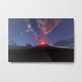 Night view of eruption Klyuchevskaya Sopka in Kamchatka Peninsula Metal Print