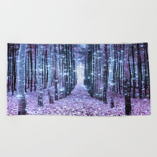 Magical Forest Lavender Periwinkle Beach Towel