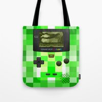 warcraft Tote Bags featuring Gameboy Color Green Creeper by Veylow
