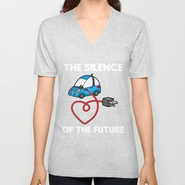 THE SILENCE OF THE FUTURE Electric Car Unisex V-Neck