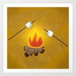 Camping - Roasting Marshmallows over Campfire Art Print