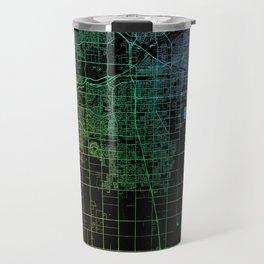 Bakersfield, CA, USA, City, Map, Rainbow, Map, Art, Print Travel Mug