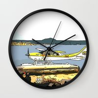 airplane Wall Clocks featuring Airplane by Cindys