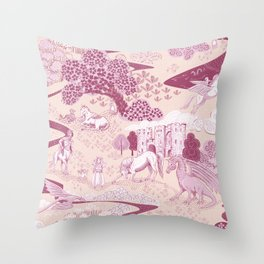 Mythical Creatures Toile in Peachy Pink Raspberry colors Throw Pillow