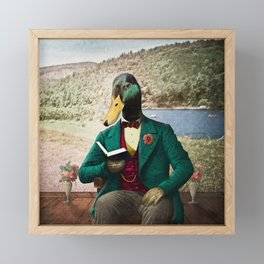 Monsieur Mallard Reading an Improving Book Framed Mini Art Print