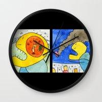 terry fan Wall Clocks featuring Fan by Bakal Evgeny