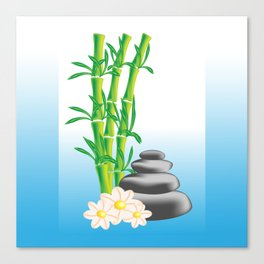 Meditation stones with bamboo and flowers Canvas Print