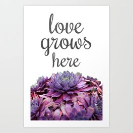 Love Grows Here Succulent Art Print