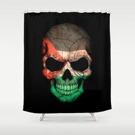 Dark Skull with Flag of Jordan Shower Curtain