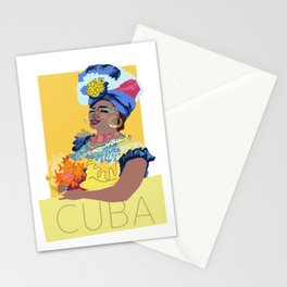 Cuban Lady With Flowers Stationery Cards