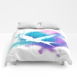 Bird Galaxy Watercolor Comforters