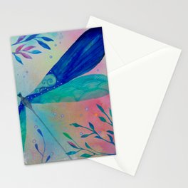 Whimsical dragonfly watercolor painting illustration Stationery Cards