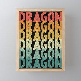 Dragon retro vintage dragon fire Framed Mini Art Print