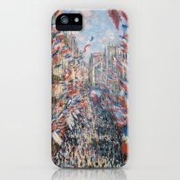 Claude Monet - La Rue Montorgueil iPhone Case