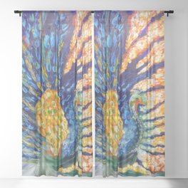 Colorful peacock an abstract Sheer Curtain