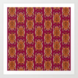 TIBETAN TIGER - ALL OVER (burgundy) Art Print