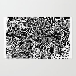 Antuan Rene Chaos style 1, Cuban chaotic art, Graphic Absurd, disorder Rug