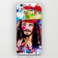 jack sparrow iPhone & iPod Skins featuring Captain Jack Sparrow by isabelsalvadorvisualarts