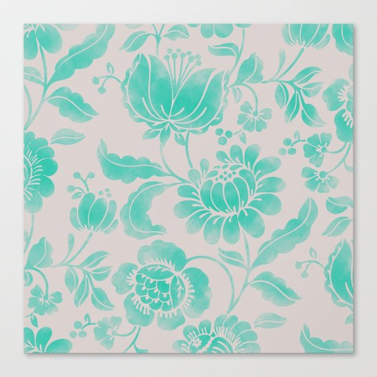 Wild Flower Cyan Canvas Print