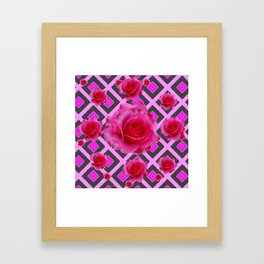 Charcoal-pink Grey Fuchsia Pink Roses  Patterns Framed Art Print
