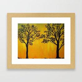 Golden Tree Silhouette Framed Art Print
