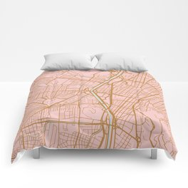 Pink and gold Medellin map, Colombia Comforters