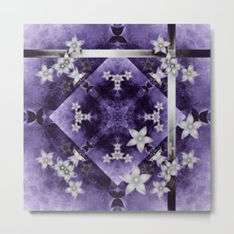 Silver flowers on purple and black textured mandala Metal Print